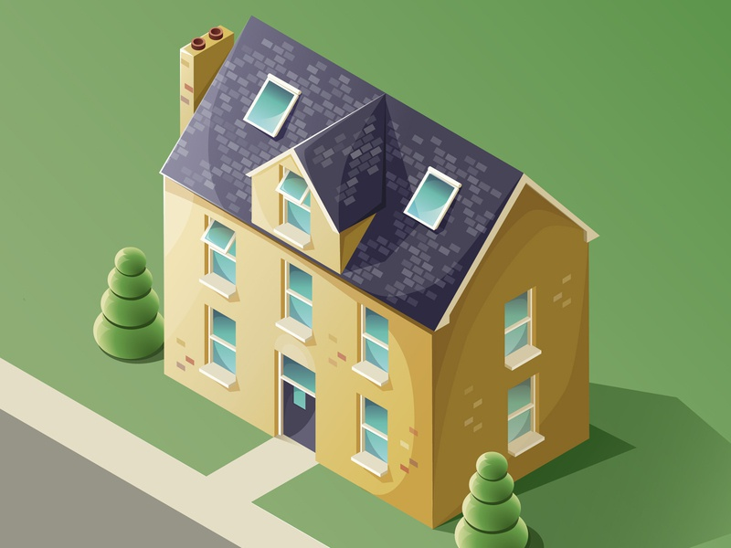 Isometric house (view from window) isometric illustration work in progress street house adobe illustrator isometric vector illustration