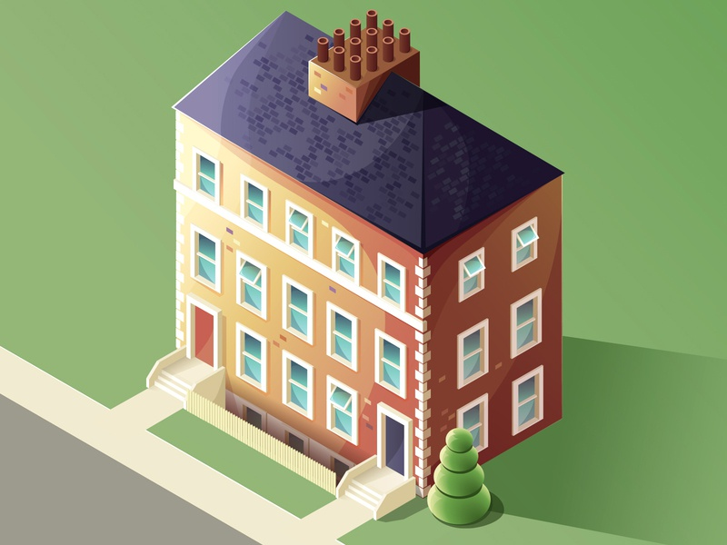 Isometric house (view from window) isometric street work in progress isometric house house windows vector illustration vector illustrator isometric illustration isometric illustration