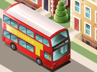 Isometric bus in Crazytown route master transport vehicle road street isometric bus illustator london bus bus isometric isometric illustration vector illustration