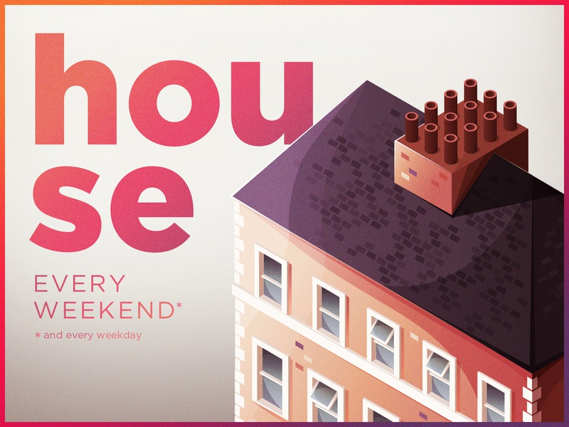 House every weekend branding concept house every weekend house illustration isometric design isometric illustration vector illustration