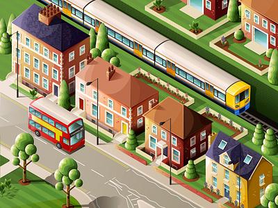 My Street train london overground london bus street illustrator house vector isometric illustration isometric illustration