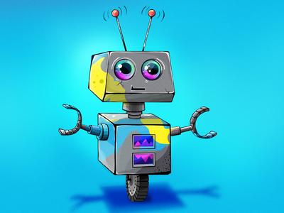 Robot Splatter cute blue metallic fun character illustration robot
