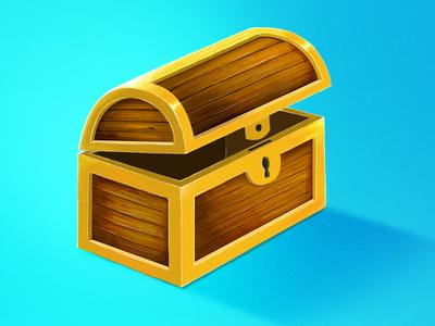 Treasure Chest game blue wood gold treasure chest chest treasure photoshop wacom illustration