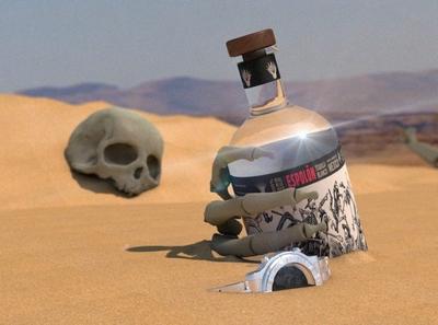 Inspired be Espolon tequila concept creative c4dart tequila dunes scull 3dart c4d cinema4d maxon 3d