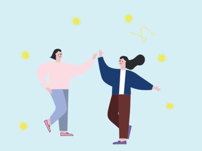 high five high-five ai illustrator girl character vector character design icon vector illustration vector illustration