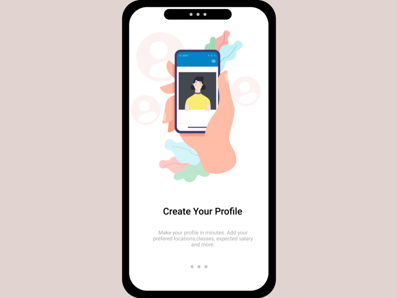 Onboarding UI 4 create profile profile page uiux mobile ui mobile app ux girl character figmadesign character onboarding screen onboarding ui ui profile create illustration vector illustration
