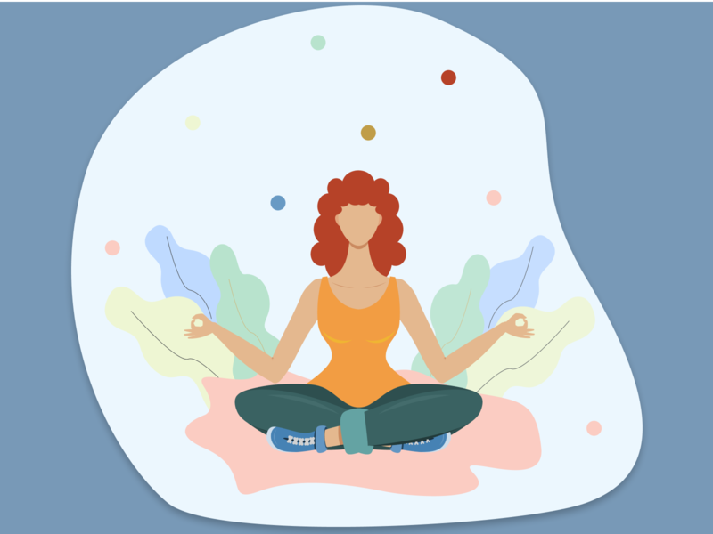 Meditation calmness yoga pose poseidon meditation yoga vector girl character character activity figmadesign design icon vector illustration vector illustration