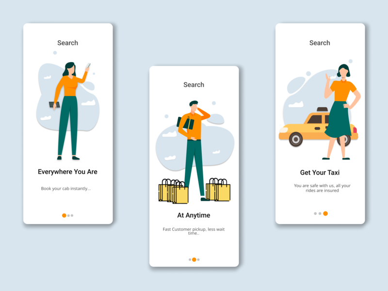 Cab booking onboarding UI set onboarding screen onboarding ui ui character activity illustration figmadesign design icon vector vector illustration