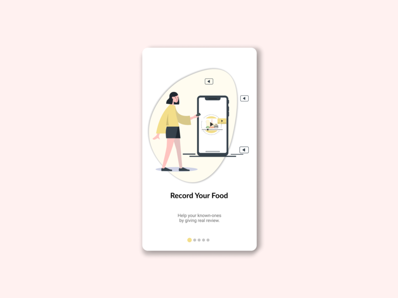 Food Review Mobile app Onboarding UI onboarding screens onboarding ui vector girl character character figmadesign design icon vector illustration vector illustration onboarding food illustration foodreview food app food