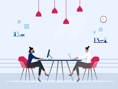 women working in office with laptop concept girl character working from home laptops employees vector illustration character figmadesign illustration womens