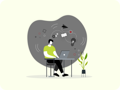 Student guy studying on internet, watching online lecture design icon vector vector branding ui illustration figmadesign vector illustration