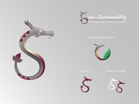 YGS logo - Sino-Sustainability branding china vector illustration paper-cut typography leaf gradient illustrator design red grey sustainability sustainable symposium global yenching dragon logo