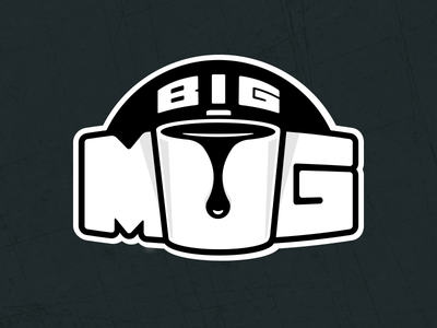 Logo logo big mug drop coffee drip big fat letters branding design studio black bold