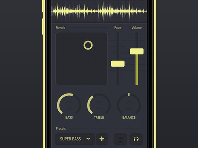 Audio App audio app iphone yellow dials slider waves sound effects