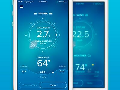 Nautical App 2 app ios sea water wind tide temperature weather blue