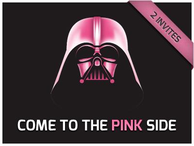 2 Dribbble Invites  invite dribbble pink darth vader star wars dark side