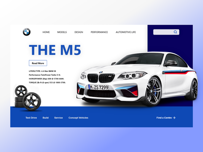 BMW M5 car header car website landingpage carui designtrend productdesign ux ui design web