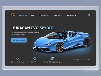 Lamborghini Landing Page graphic design automative lamborghini web hero page minimalistic minimal branding car sport clean ux ui interface website landing page