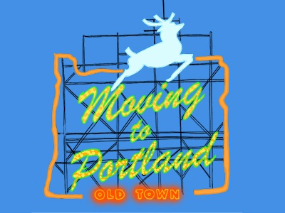 Moving to Portland oregon portland illustration