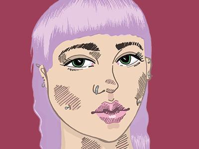 Doodle Time piercings punk girl illustration