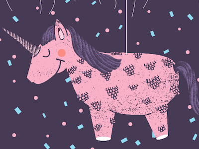 Happy Birthday Anorak! pinata birthday illustration