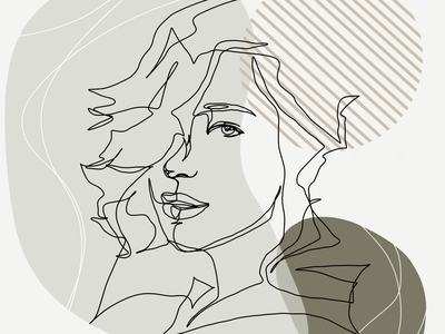 Woman in one-line style branding abstract tattoo clothier design stylish minimalistic drawing illustration colorful art one line with background custom drawing gift one line