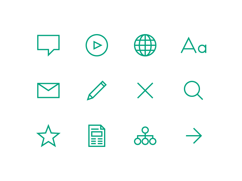 PEN Website – Icons arrow search edit email text global player comment green icons