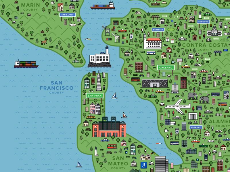 The Bay Area tech start up bay area san francisco map illustration