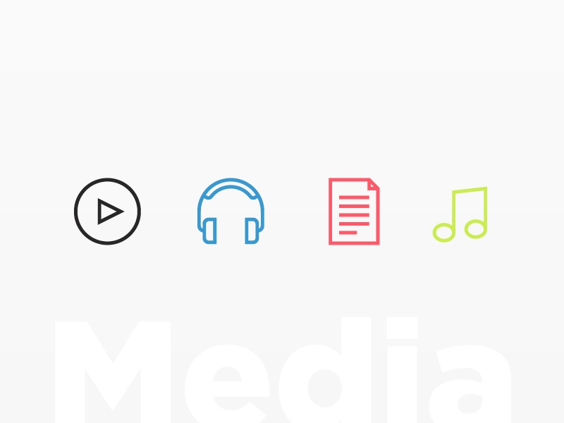 C4 Website – Icons audio music notes sound play media clean simple line colour logo icon