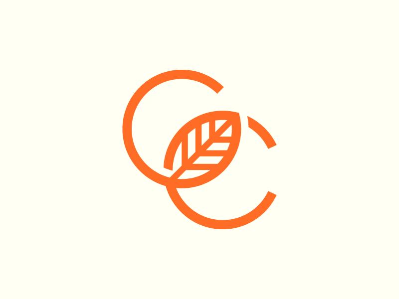 GC c g orange letters brand logo leaf icon