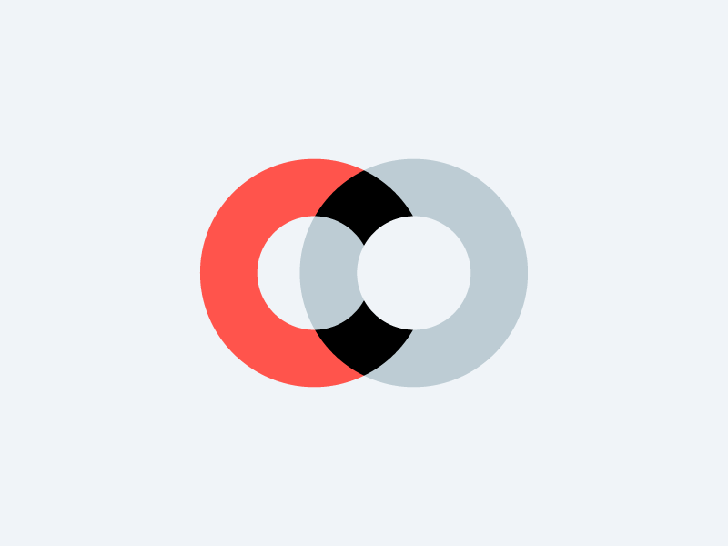 C.O. symbol overlap logo o c initials icon