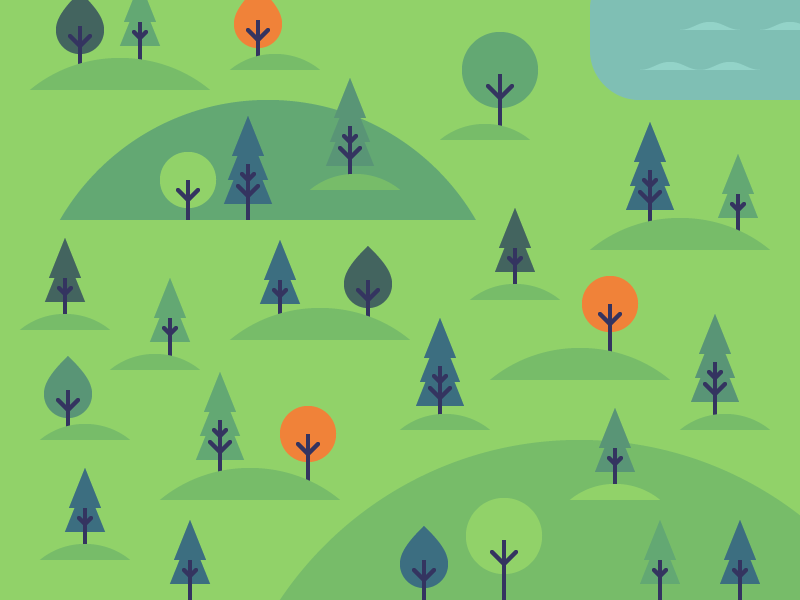 Nature wild forest simple icons illustration water hills trees nature