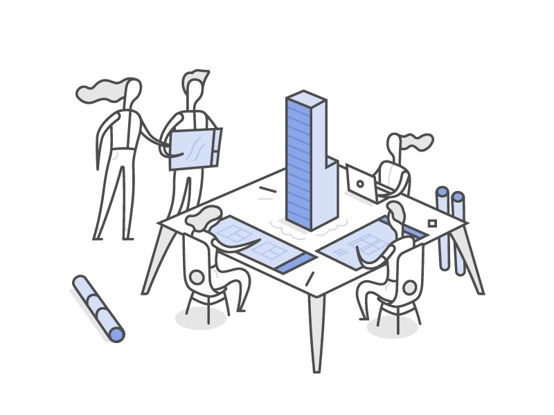 Architects print blue man woman chair table building people characters line architect illustration
