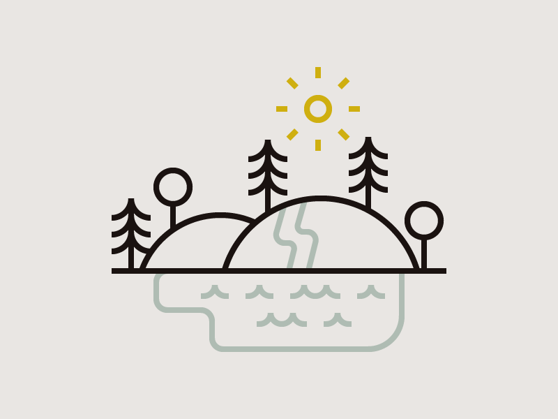 Environment river simple outdoors nature trees hills water lake sun illustration line icon