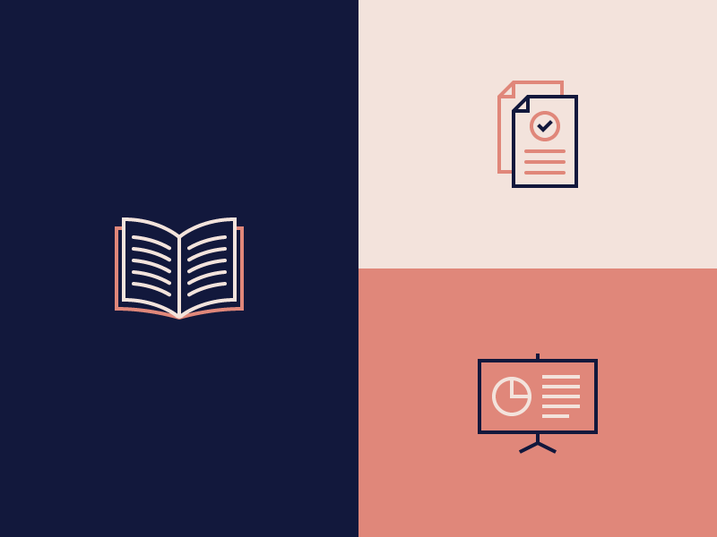 Custom Icons – Resources corporate illustration custom verified presentations documents books resources icons