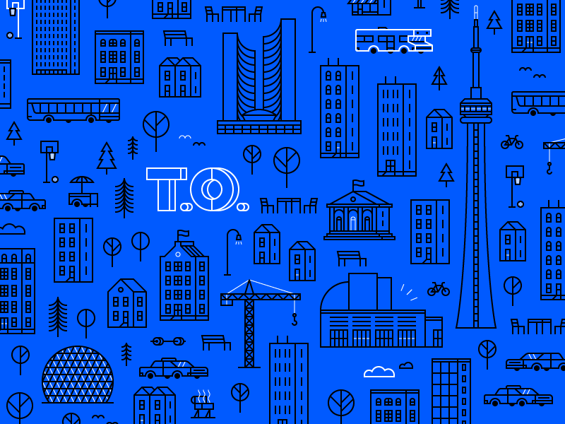 Neighbourhoods of Toronto car house line tower skyscraper illustration icon buildings city toronto