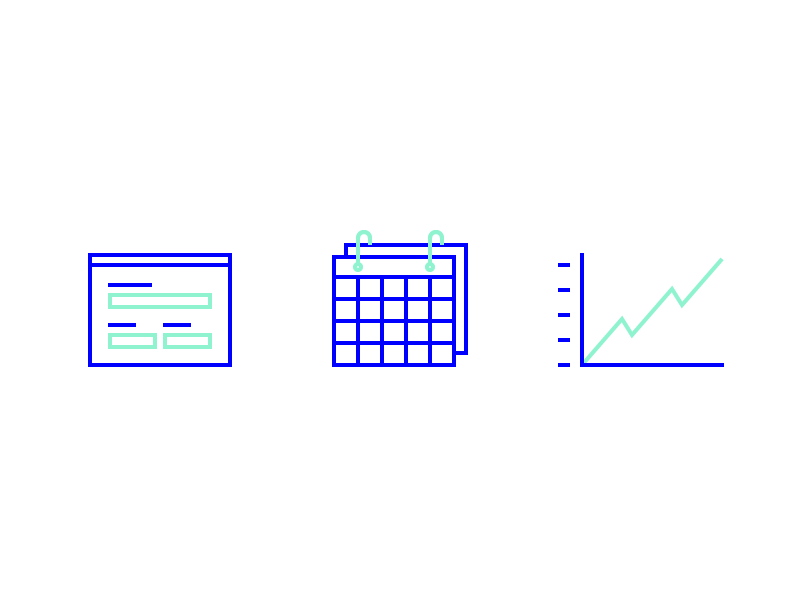 Custom Icons – Support business line graph chart calendar forms support illustration icons custom