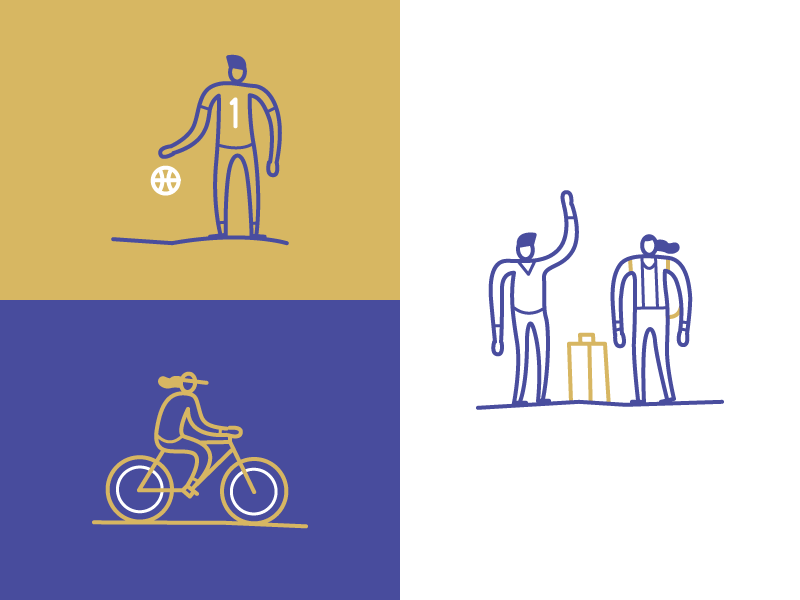 Character Styles travel basketball bike simple icons design line sketches characters illustration