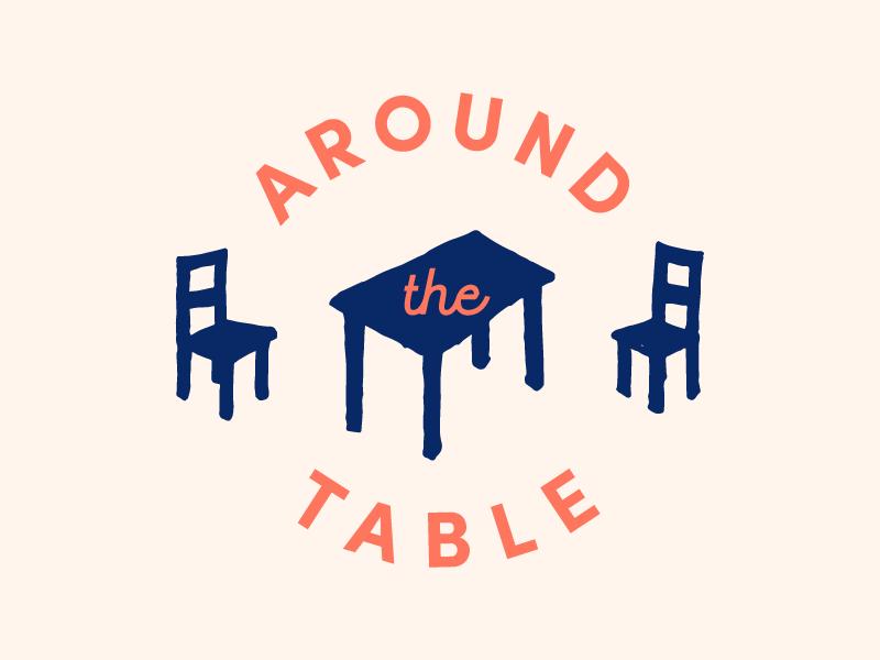 Around the Table Wordmark community conversation food design logo icon wordmark illustration chairs table