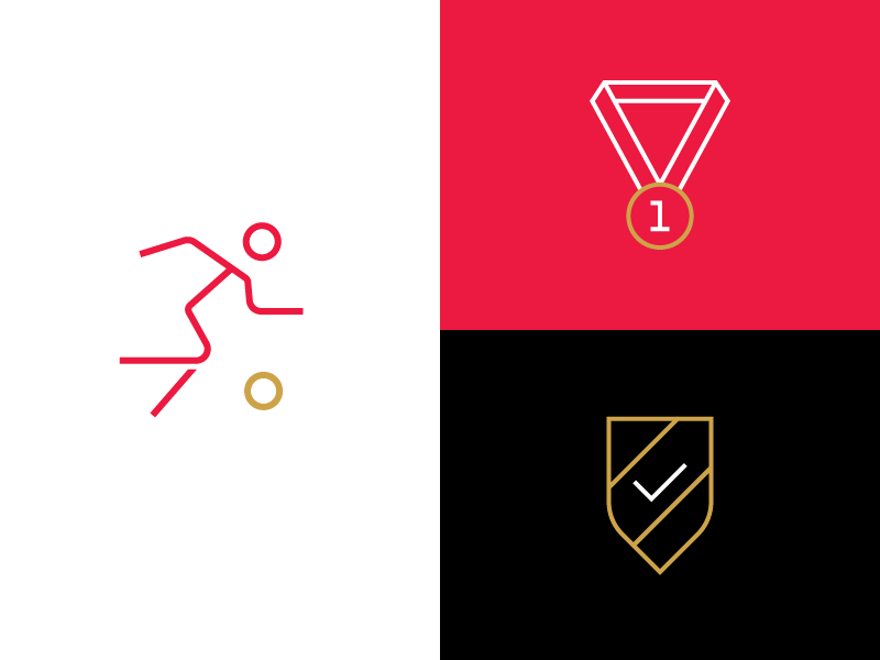 Simple Athletic Icons design line sketch graphic shield medal run soccer athlete illustration icons