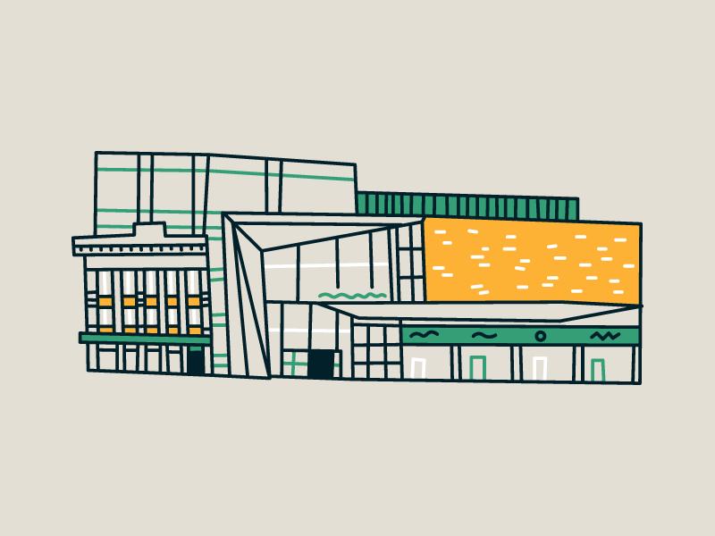 CF Rideau Centre graphic canada city ottawa building line sketch illustration
