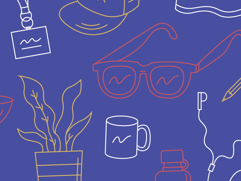 Good. Vibes. Only. head phones pencil hat coffee plant sun glasses line sketch illustration