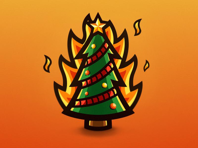 Burning Christmas tree mascot logo