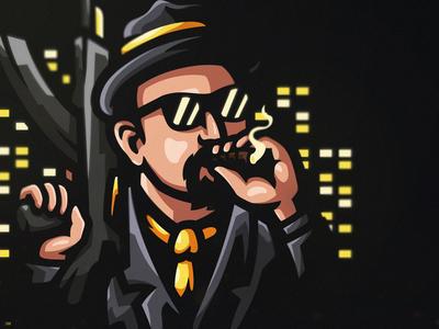 Mafia esportlogo sports logo mascot mascot logo illustrator illustration vector logo icon branding