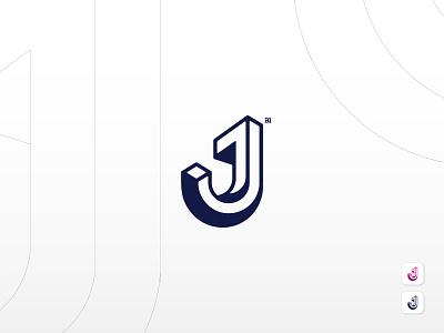 J Logo Mark typography minimal brand flat illustration illustrator icon vector logo branding