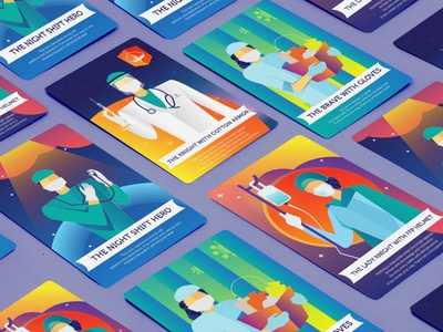 Thank you heroes of today design tarot cards tarot heroes art direction graphic design doctors doctor covid-19 illustration
