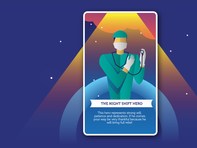 The Night Shift Hero fortune cookie lucky lucky card tarot cards tarot card cards illustrations illustration covid-19 doctors doctor heroes hero graphicdesign graphic art direction design