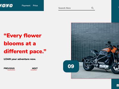 Rent Motorcycle on hour basis web page mobile clean type graphic design typography logo illustrator website web branding app ux ui minimal design
