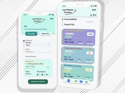 Last minute flight booking app - UX/UI Design logo typography creative design branding graphic design minimal product design ux  ui modern ui design mobile app indian designer design 2020 figma design clean ui adobe xd design