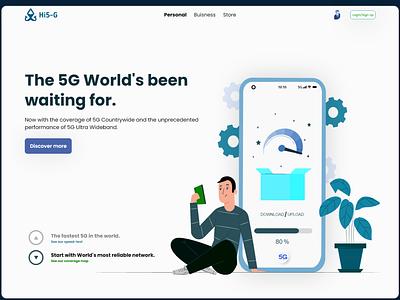 Landing page design of 5G network providers' website. dailyui landing page graphic design branding logo illustration clean web ux ui minimal design adobe xd
